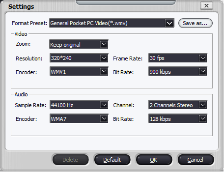 Figure 4.  Format settings dialog