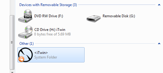 Windows Explorer with iTwin system folder