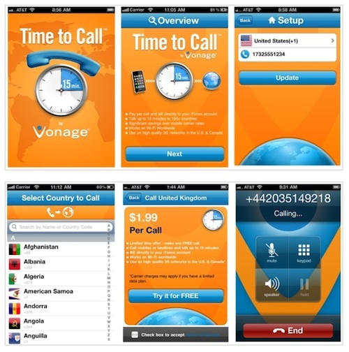 Apple Thoughts: Vonage's Time to Call App: 15 Free Minutes
